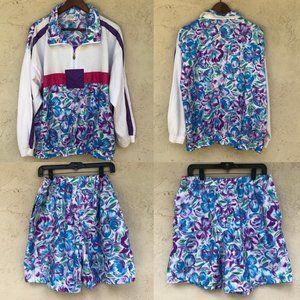 Vintage 80's 90's printed floral windbreaker suit